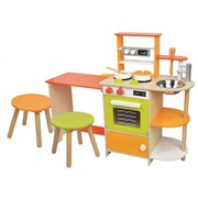 Lelin Wooden Childrens 2 in 1 Pretend Play Kitchen and Dining Room Set